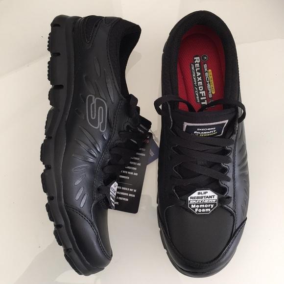 d847bd70 Skechers Shoes | Sketchers Work Black Leather Slip Resistant | Poshmark